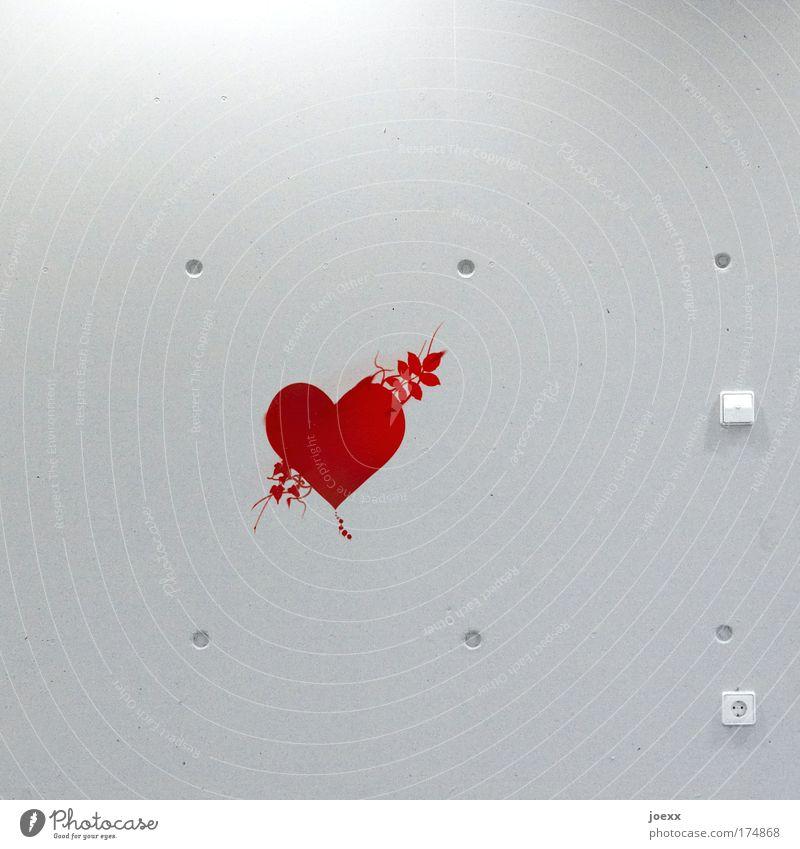Kaltes Herz Liebe Einsamkeit Wand Gefühle Mauer Herz Steuerelemente Hoffnung Romantik Leidenschaft verloren Verliebtheit Schalter Flirten Steckdose Valentinstag