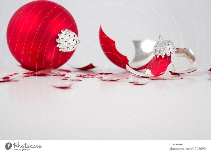 Broken Weihnachten & Advent weiß rot Glas Kugel gebrochen Christbaumkugel Scherbe Baumschmuck Glaskugel gesplittert