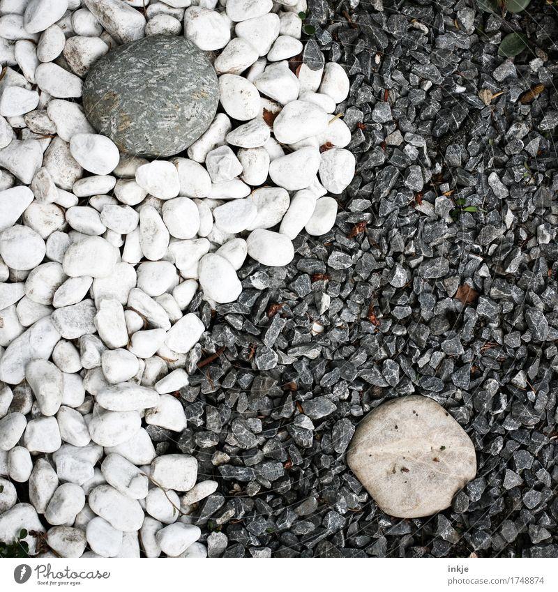 Yin und Yang Kieselsteine Stein Zeichen Ornament grau schwarz weiß ästhetisch Zufriedenheit Partnerschaft komplex Kreativität Leben Religion & Glaube