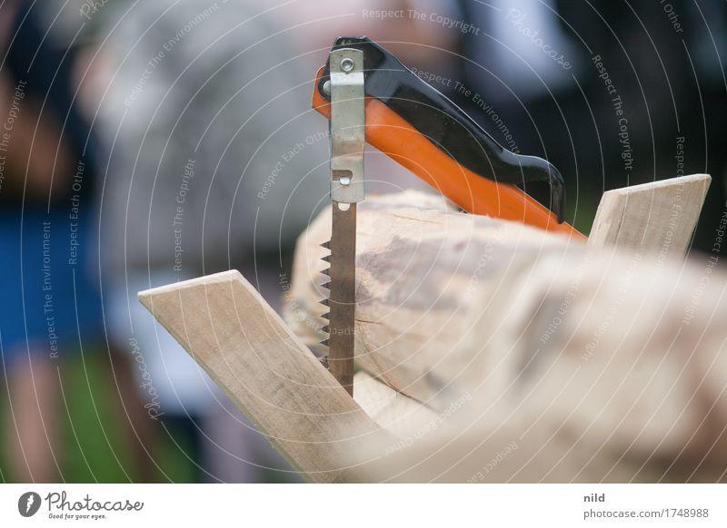...immer diese Hochzeitsspielchen Handwerker Holz Arbeit & Erwerbstätigkeit Säge Zacken Griff Feste & Feiern Ast Zusammenhalt Farbfoto Außenaufnahme Nahaufnahme