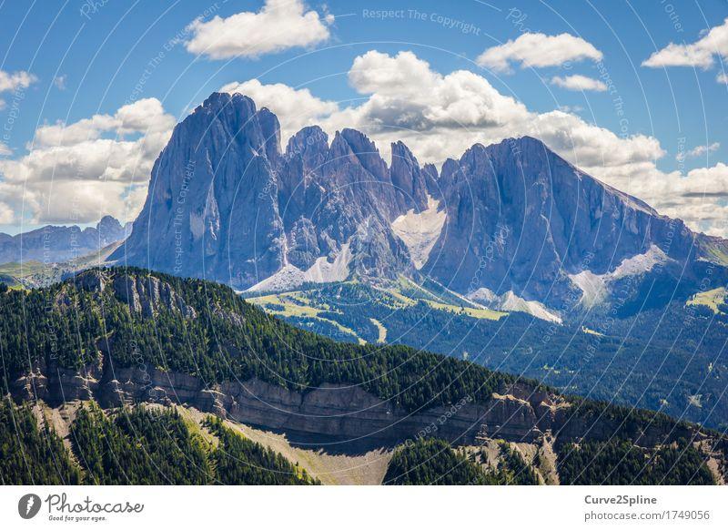 Südtirol Natur Landschaft Urelemente Himmel Wolken Gewitterwolken Sommer Wiese Feld Wald Hügel Felsen Alpen Berge u. Gebirge Gipfel fest Dolomiten Freiheit