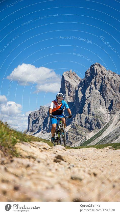 Freeride Mensch Himmel Mann Landschaft Wolken Berge u. Gebirge Erwachsene Wege & Pfade Sport Felsen maskulin Freizeit & Hobby Fahrrad Fahrradfahren Urelemente