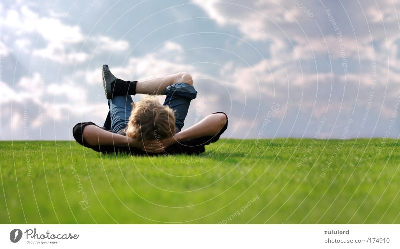 relaxing Mensch Jugendliche Sommer Ferien & Urlaub & Reisen Freude Erholung Garten Glück Zufriedenheit Gesundheit Erwachsene Mann maskulin groß