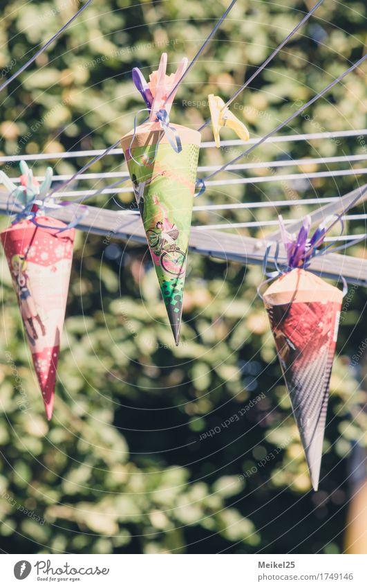 Zuckertüte auf der Leine Glück Freizeit & Hobby Party Einschulung Kind Schule Garten Schultüte Feste & Feiern Fröhlichkeit positiv Gefühle Neugier Farbfoto