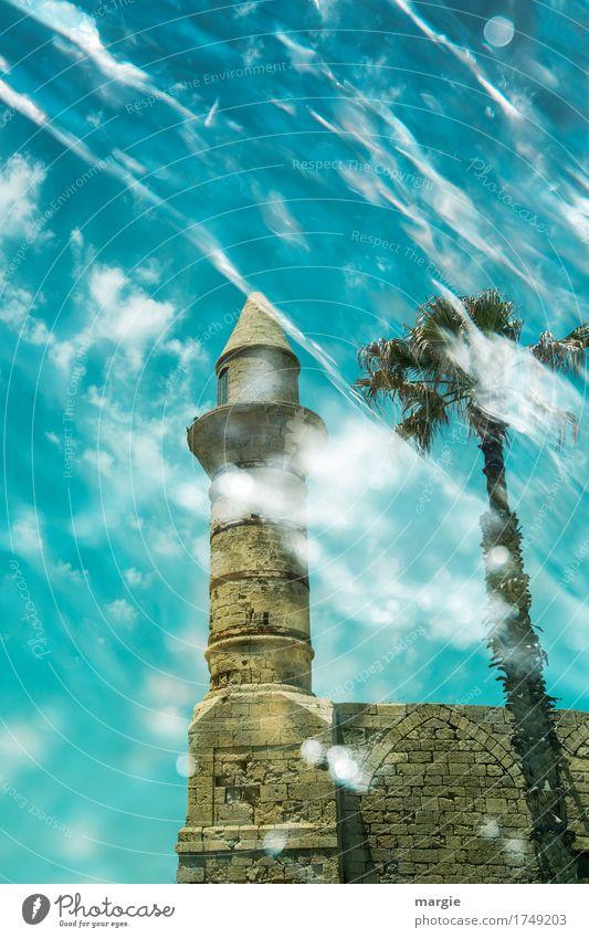 Antike Moschee Himmel Ferien & Urlaub & Reisen Sommer grün weiß Sonne Wolken Ferne Architektur Gebäude Mauer Tourismus Freizeit & Hobby Ausflug Abenteuer