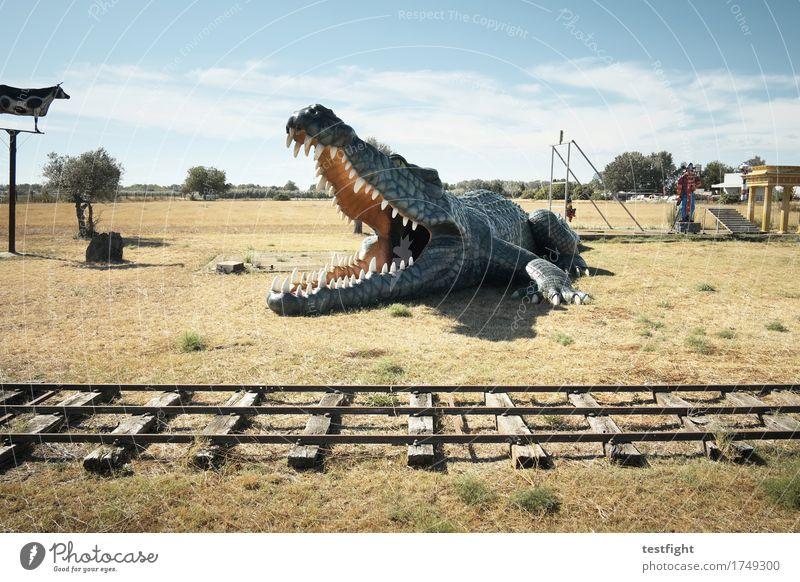 krokodil Spielen Modellbau Kinderspiel Ferien & Urlaub & Reisen Safari Expedition Umwelt Natur Landschaft Sonne Sommer Tier krabbeln Aggression bedrohlich groß