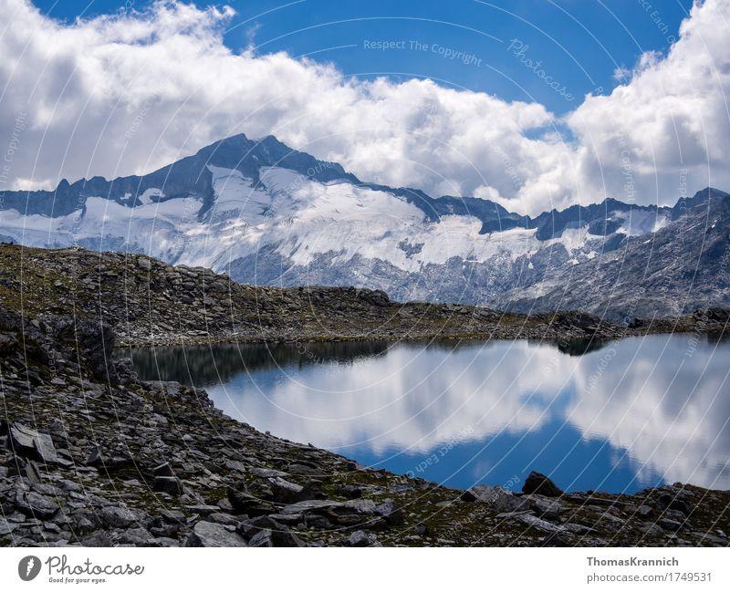 Schwarzhornsee & Hochalmspitze Natur Landschaft Wasser Himmel Wolken Sommer Schönes Wetter Alpen Berge u. Gebirge Hohen Tauern NP Gipfel Schneebedeckte Gipfel