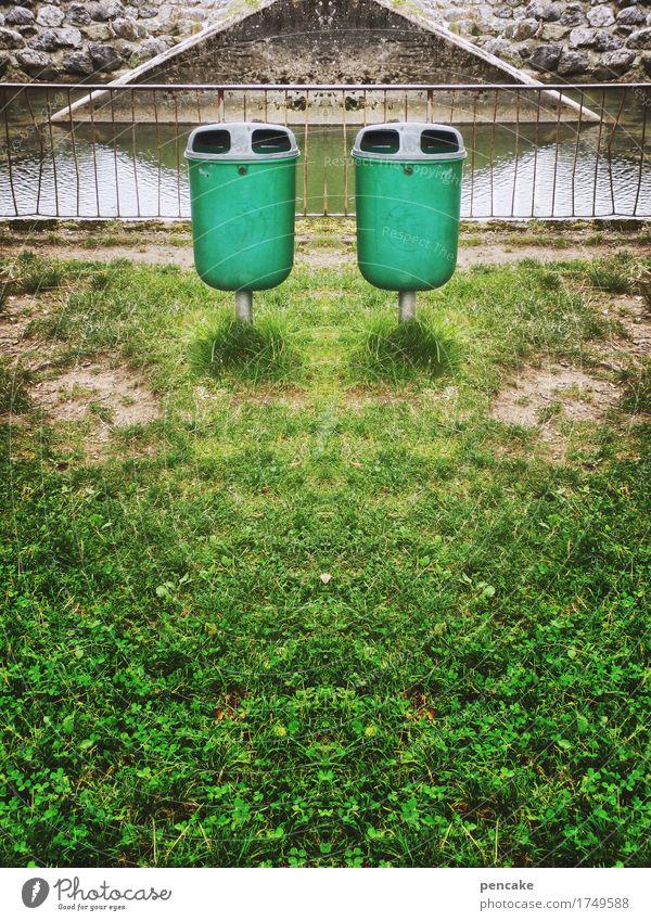 mülltrennung Kunst Umwelt Natur Park Kasten Container Spiegel Kitsch Krimskrams Kunststoff Zeichen ästhetisch bedrohlich gruselig listig grün Rechtschaffenheit