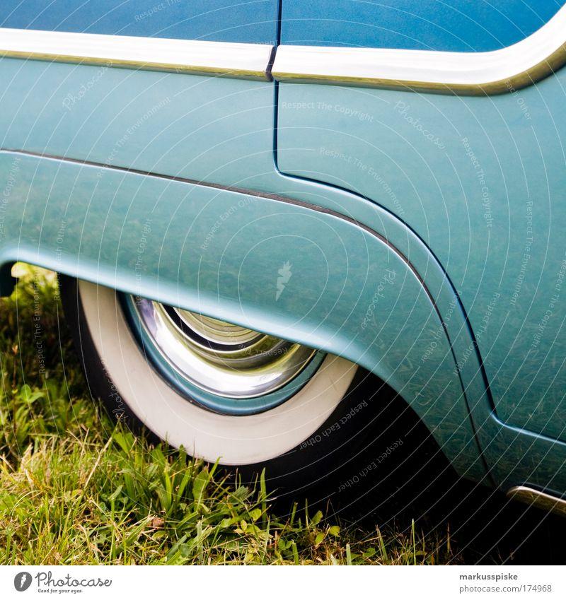 Rock 'n' Roll Car blau Strand Meer Ferne KFZ Freiheit Stil PKW elegant Ausflug Design Verkehr ästhetisch Lifestyle retro fahren