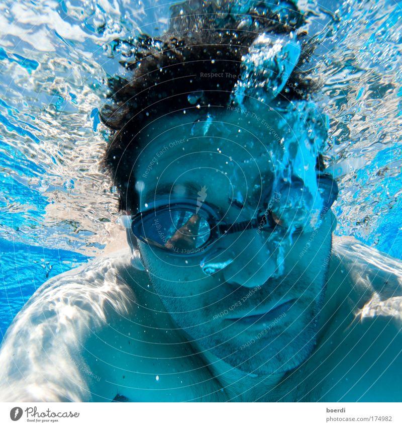 bLubbex Mensch Mann blau Sommer Freude Ferien & Urlaub & Reisen Sport Erwachsene maskulin nass Tourismus Schwimmbad Freizeit & Hobby tauchen