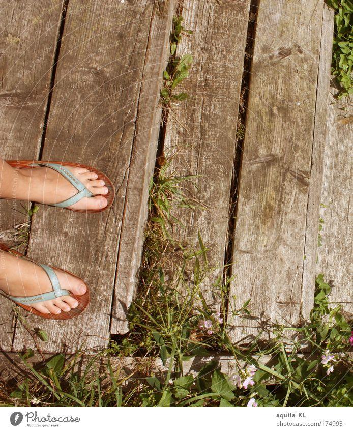 let the sunshine in your ... Holz Schuhe Treppe Fuß stehen Steg Holzbrett Zehen Japan Flipflops Hiroshima Unkraut Shukkei-en Garten