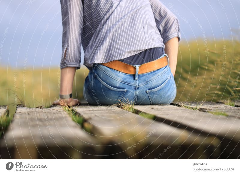 *300* den Blick nach Vorne Umwelt Natur Landschaft Mode Bekleidung T-Shirt Hemd Jeanshose Accessoire Jeansstoff Leder Gürtel Gesäß Hinterteil feminin Frau
