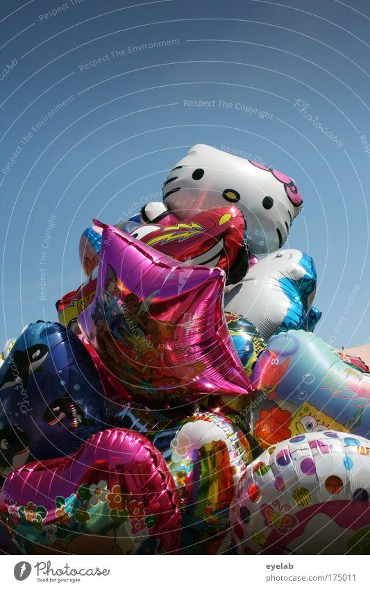 Aufgeblasen Himmel Farbe Sommer Freude Feste & Feiern Freizeit & Hobby glänzend Design Schönes Wetter Fröhlichkeit Luftballon Kitsch Spielzeug Wolkenloser Himmel Jahrmarkt skurril