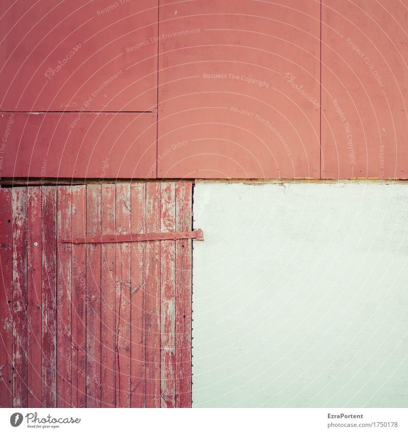 überwiegend Rot Bild Haus Bauwerk Gebäude Architektur Mauer Wand Fassade Tür Dekoration & Verzierung Beton Holz Linie rot weiß Scharnier alt kaputt Tor Scheune