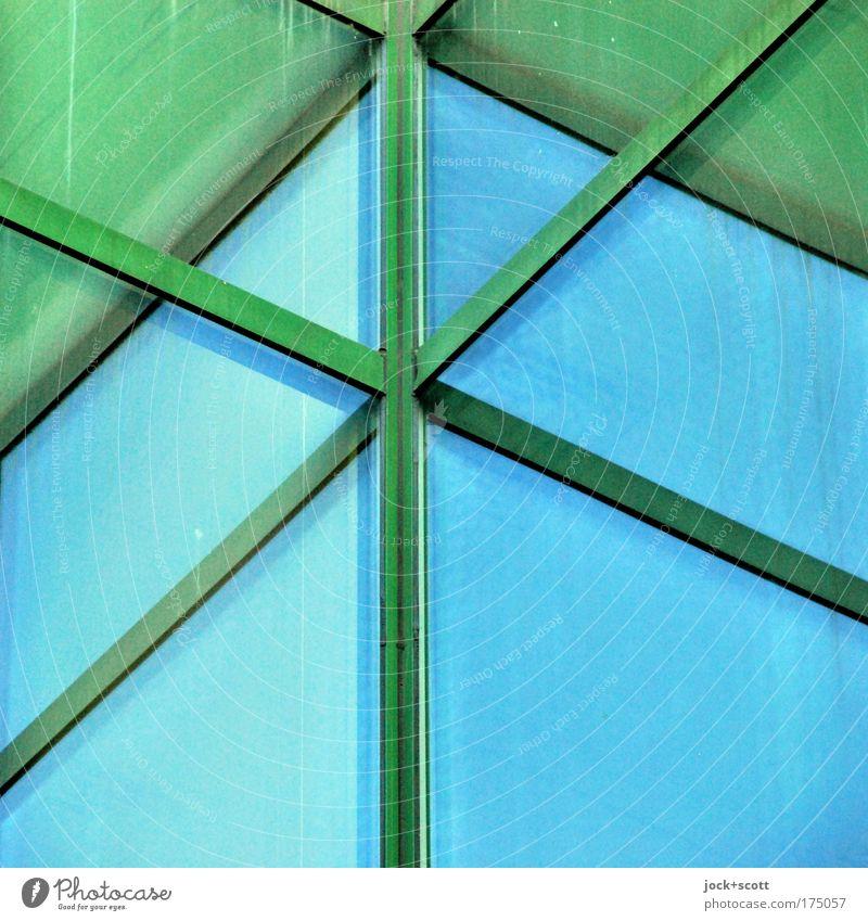 Fensterkreuz: Nautilus Siebziger Jahre Fassade Ecke Metall Kreuz Streifen eckig blau grün Mittelpunkt Perspektive Irritation Leiste Oberfläche Illusion