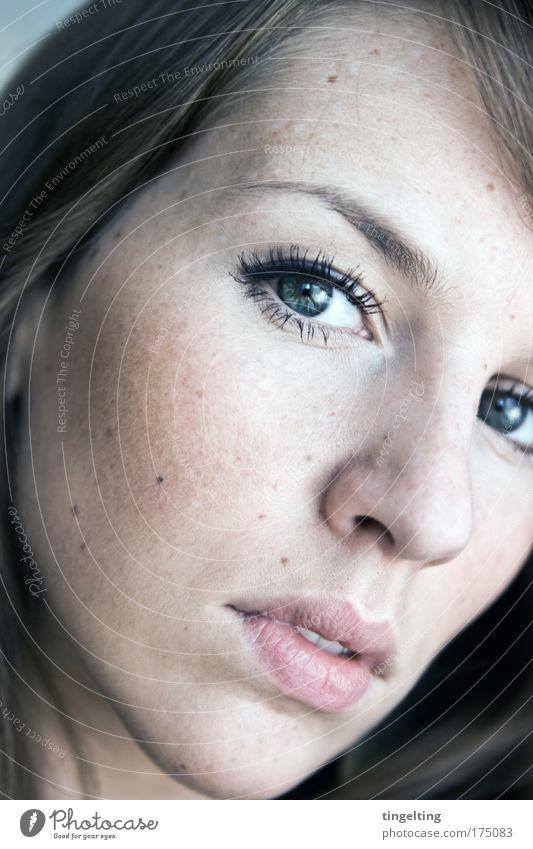 gepunktet Farbfoto Gedeckte Farben Innenaufnahme Porträt Blick in die Kamera Haut Wimperntusche Rouge feminin Kopf Gesicht Auge Nase Mund Lippen 1 Mensch