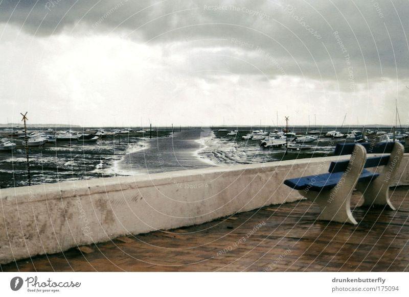 Arcachon Natur Himmel Meer blau Sommer Strand Ferien & Urlaub & Reisen Wolken grau Stein Landschaft Wind Horizont Hafen Ruderboot Moor