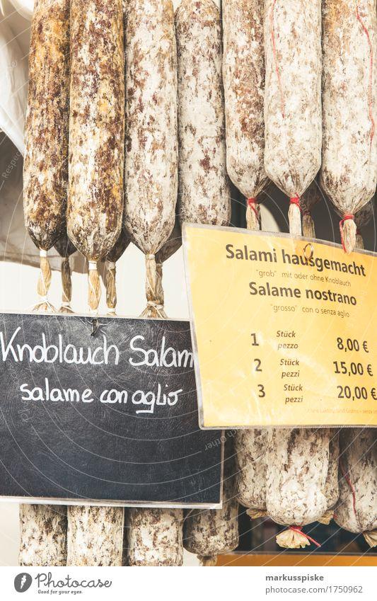 südtiroler salami wochenmarkt Lebensmittel Fleisch Wurstwaren Salami Knoblauch Südtirol Wochenmarkt Bauernmarkt Tradition Spezialitäten Lifestyle kaufen