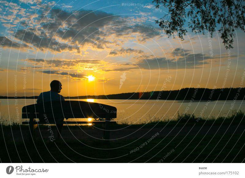 Sitting, Waiting, Wishing ... Freiheit Feierabend Mensch maskulin Mann Erwachsene 1 Natur Landschaft Himmel Seeufer Bank genießen sitzen warten Gefühle Stimmung