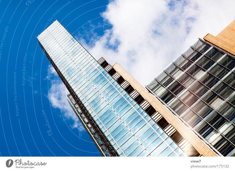 Aufschwung Stadt Haus Fenster Wand Mauer Fassade glänzend groß elegant hoch Erfolg Wachstum Hochhaus ästhetisch Macht Bankgebäude