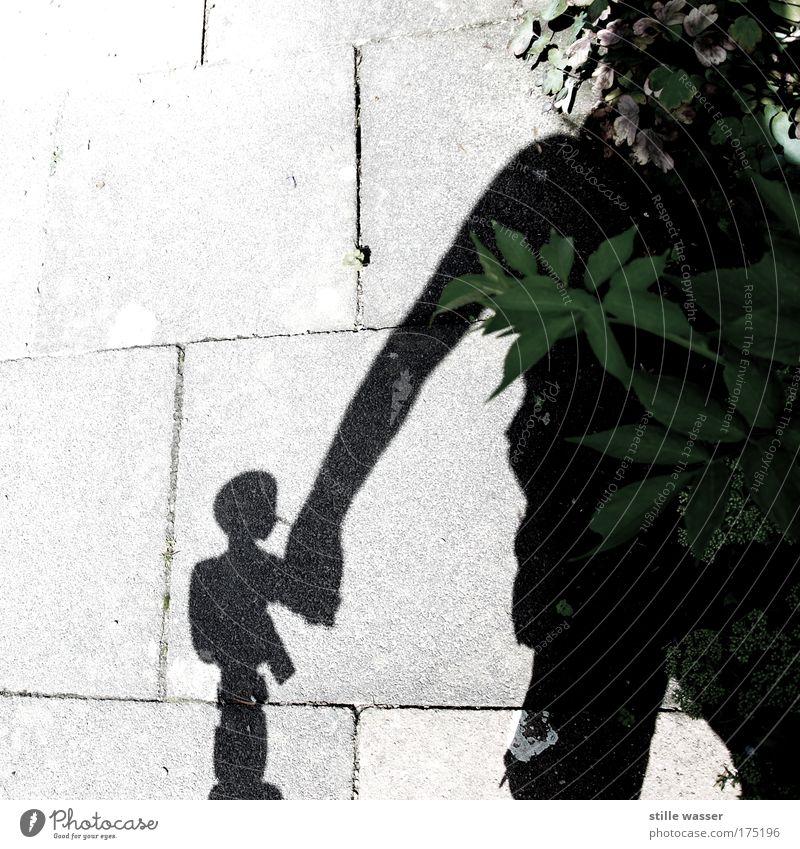 Hand in Hand Kind Mann Blatt Liebe kalt Freundschaft Zusammensein Erwachsene klein groß Sicherheit Macht Schutz Vertrauen einzigartig Spielzeug