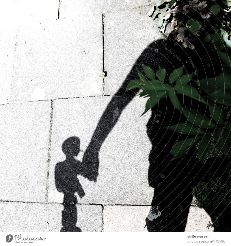 Hand in Hand Textfreiraum links Schatten Silhouette Sonnenlicht Kind Mann Erwachsene Freundschaft Puppentheater Blatt Brustbehaarung Spielzeug Roboter berühren