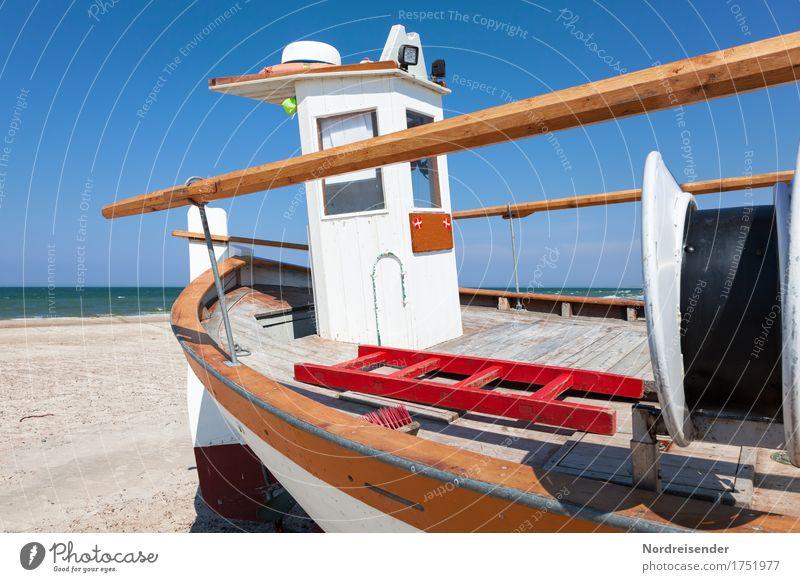 Kutter Ferien & Urlaub & Reisen Tourismus Sommer Sommerurlaub Sonne Strand Meer Arbeit & Erwerbstätigkeit Beruf Sand Wasser Wolkenloser Himmel Schönes Wetter