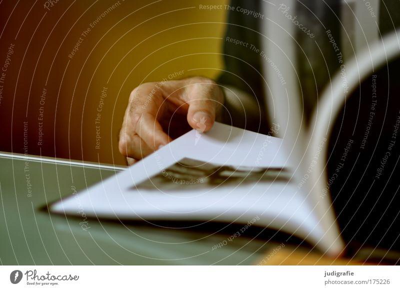 Stöbern Mensch Mann Hand Fotografie Kunst Buch Erwachsene maskulin sitzen lesen Neugier festhalten entdecken Interesse Künstler blättern