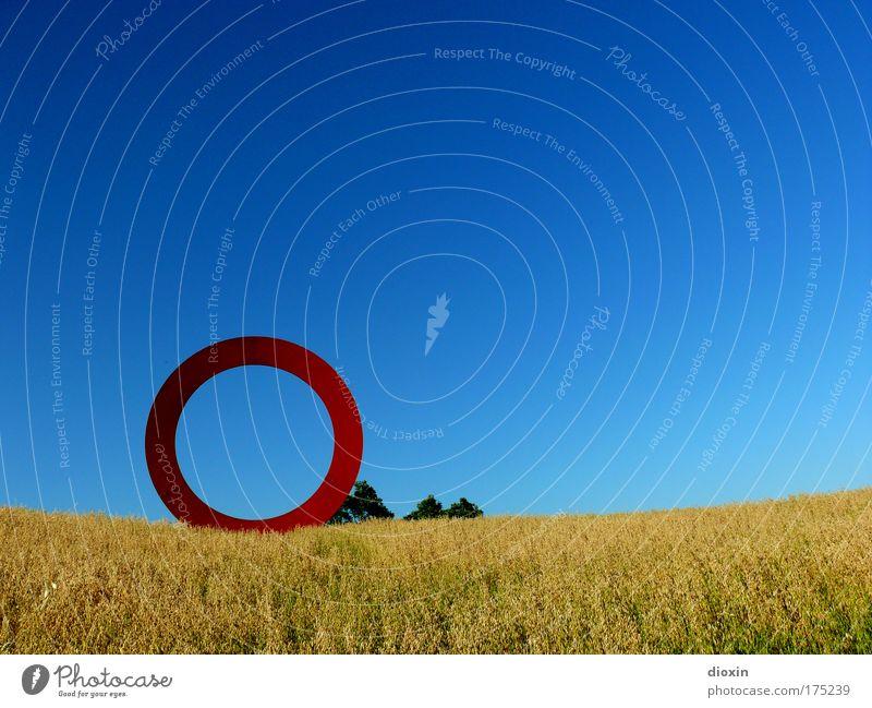 bitte gib mir... Natur Himmel Pflanze Sommer Ferien & Urlaub & Reisen Buchstaben Wärme Landschaft Feld Kunst Umwelt Beton groß Ausflug rund Sträucher