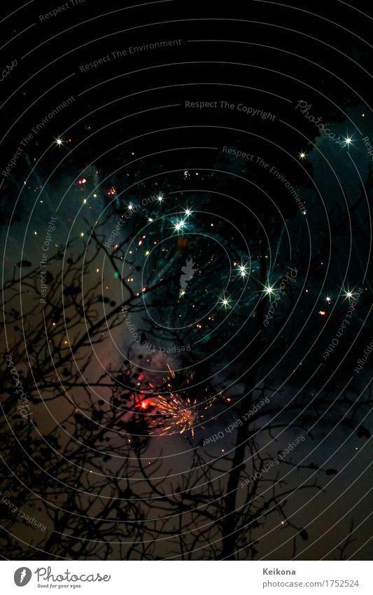 Firework stars Nachtleben Veranstaltung Feste & Feiern Jahrmarkt Feuer Luft Wolkenloser Himmel Nachthimmel Stern Fernglas Teleskop rot schwarz silber chaotisch