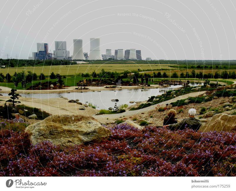 Am Horizont das Kraftwerk Frau Mensch Himmel Mann Wasser grün Erholung Umwelt Landschaft Garten Erwachsene See Park Feld sitzen