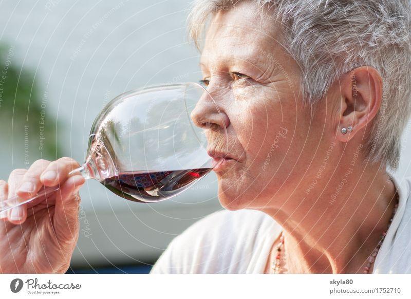 Genussvoll Frau Garten Haare & Frisuren genießen Getränk Mutter trinken Wein reif Dame Rotwein grauhaarig