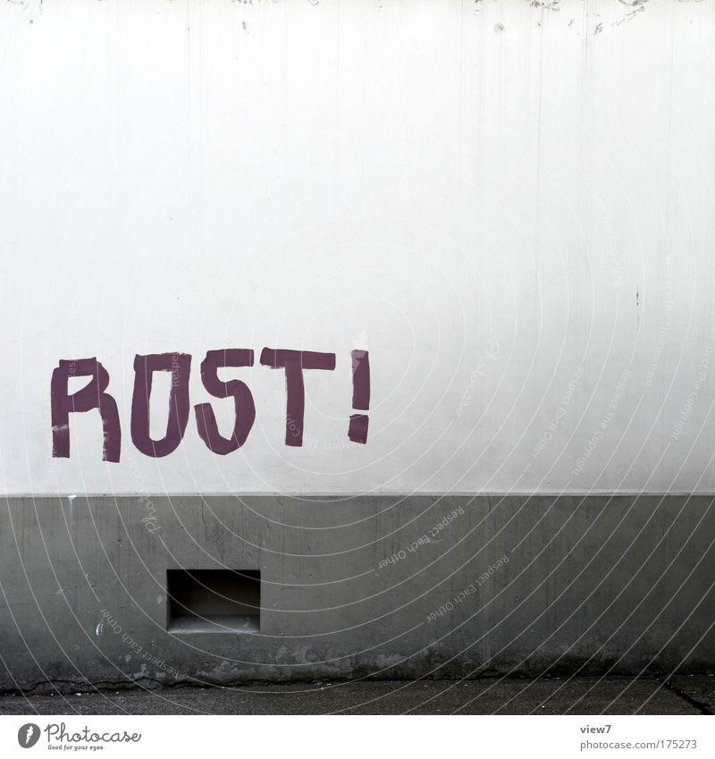 ROST! alt Haus Fenster Wand Graffiti Stein Mauer braun Fassade Streifen einzigartig streichen schreiben Zeichen entdecken Aggression