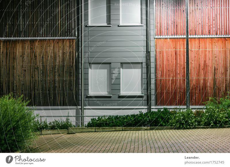 Holz vor der Hütte Beton alt maritim nachhaltig Architektur Holzbauweise Moderne Architektur Lichterscheinung Stadt grau gelb neu Gentrifizierung
