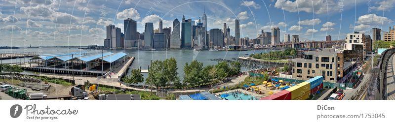 Manhattan Ferien & Urlaub & Reisen Tourismus Brooklyn Bridge USA Amerika Skyline Hochhaus Brücke gigantisch groß Stadt Fernweh Farbfoto Außenaufnahme Tag