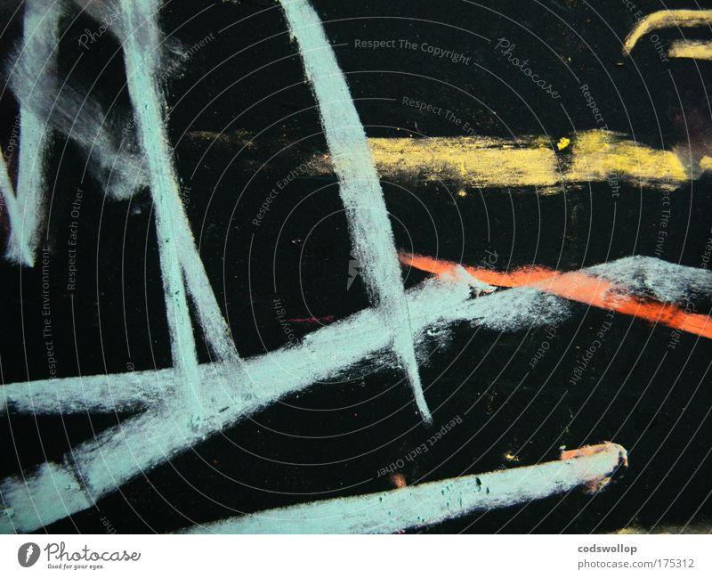 ab_1ts Maler ästhetisch Kindheit Kreide Tafel gelb orange hell-blau schwarz abstrakt Kreativität zeichnen Kunstwerk Kunsthandwerk Entwurf Farbfoto