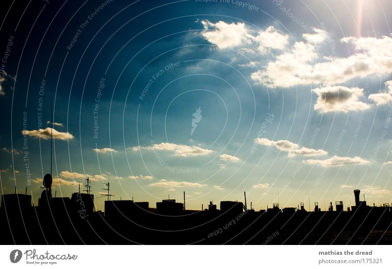 HIMMEL ÜBER BERLIN Himmel Natur blau Stadt Sommer Wolken Umwelt Berlin Glück Deutschland Horizont ästhetisch Fröhlichkeit außergewöhnlich Dach Bauwerk
