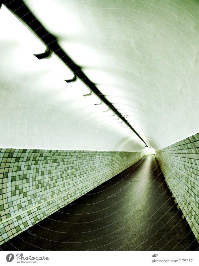 life Farbfoto Gedeckte Farben Innenaufnahme Menschenleer Kunstlicht Kontrast Zentralperspektive Tunnel rund Leuchtstoffröhre Fußgängerunterführung Fluchtlinie