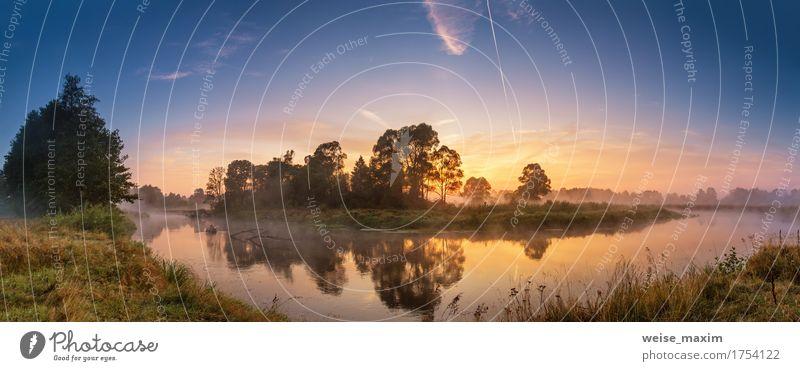 Nebeliger Fluss morgens Himmel Natur Ferien & Urlaub & Reisen Sommer grün schön Wasser Landschaft Wald Herbst Tourismus frisch Ausflug Schönes Wetter Tapete