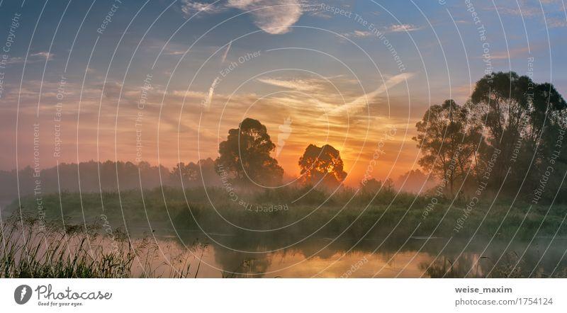 Nebeliger Fluss morgens Ferien & Urlaub & Reisen Sommer Strand Tapete Natur Landschaft Himmel Wolken Herbst Schönes Wetter Baum Wald frisch grün weiß Wasser