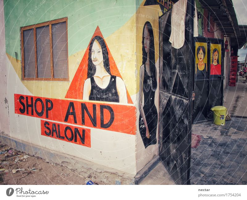 Shop and Salon Ferien & Urlaub & Reisen Jugendliche schön Junge Frau Haus Mädchen Gesicht Wand feminin Stil Mauer Kunst Mode Haare & Frisuren Fassade Design