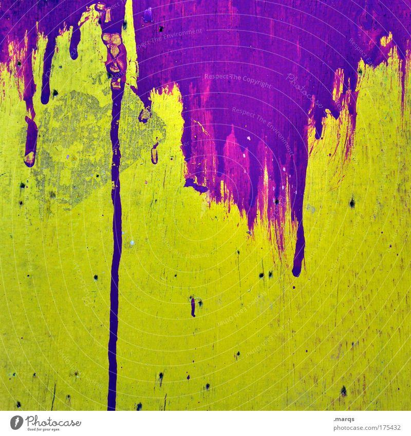 What a Mess gelb Wand Graffiti Stil Mauer Kunst Hintergrundbild dreckig Fassade Design außergewöhnlich authentisch verrückt einzigartig Vergänglichkeit violett