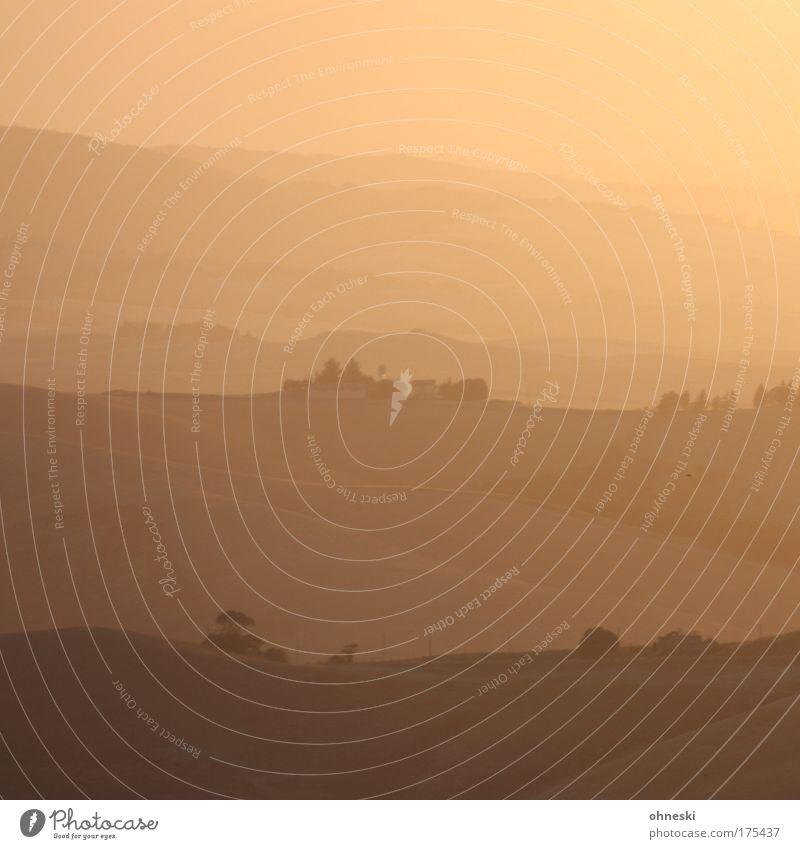 200 - Tuscan Sunset Gedeckte Farben Textfreiraum oben Abend Dämmerung Sonnenlicht Sonnenstrahlen Sonnenaufgang Sonnenuntergang Gegenlicht Panorama (Aussicht)