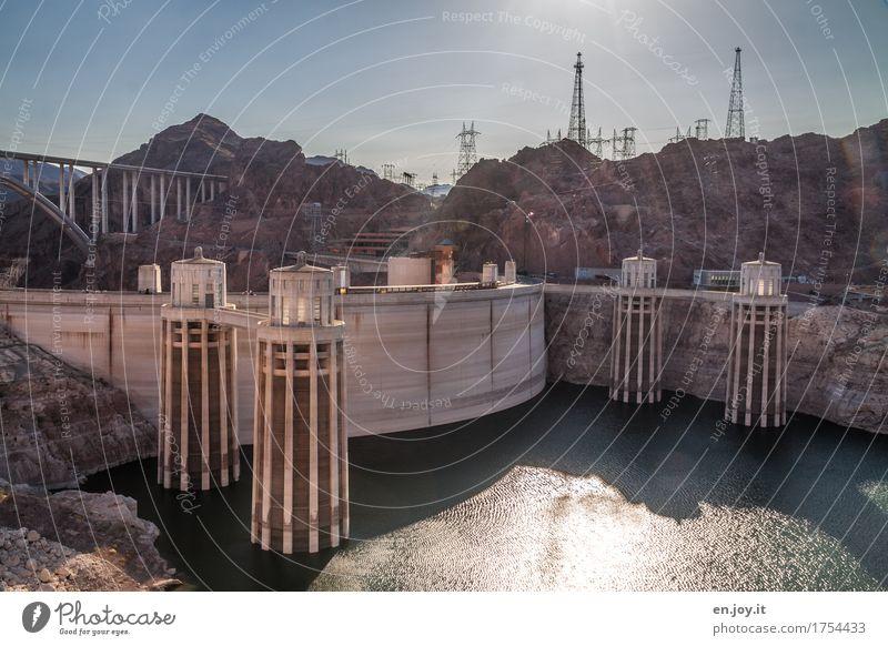 Lebenskraft Ferien & Urlaub & Reisen Stadt Umwelt Felsen Tourismus Energiewirtschaft USA Zukunft Klima Brücke Fluss Bauwerk Zukunftsangst Amerika