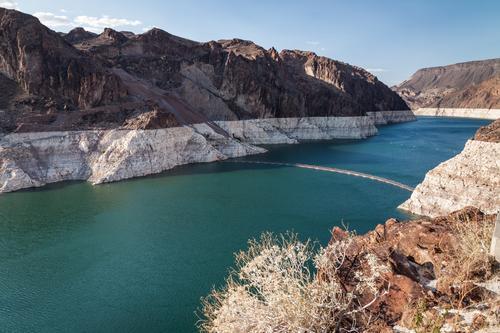 Klimawandel Ferien & Urlaub & Reisen Ausflug Energiewirtschaft Umwelt Natur Landschaft Sommer Felsen Schlucht See Lake Mead Stausee Fluss Colorado heiß Wärme