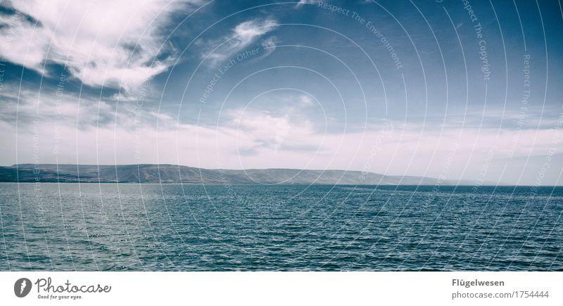 Sea of Galilee Ferien & Urlaub & Reisen Ferne Freiheit Umwelt Natur Sommer Wellen Küste Seeufer Meer Israel Tiberias See Genezareth Judentum Palästina Himmel
