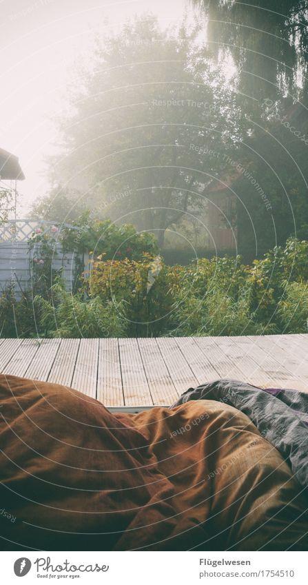 Draußen nächtigen Nacht Morgen Morgentau Dämmerung Früh Morgens aufwachen aufstehen Nebel Garten Ferien Urlaub Ferienhaus Camping Bettdecke Schlafzimmer Kissen