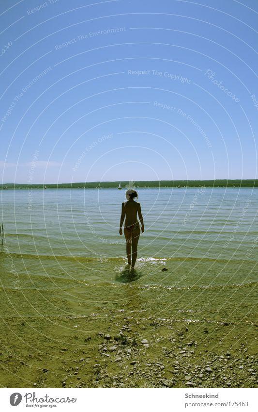 Ein Tag am See Mensch Himmel Jugendliche Wasser schön Sommer ruhig Erwachsene Ferne Erholung feminin Freiheit Küste Rücken laufen Ausflug