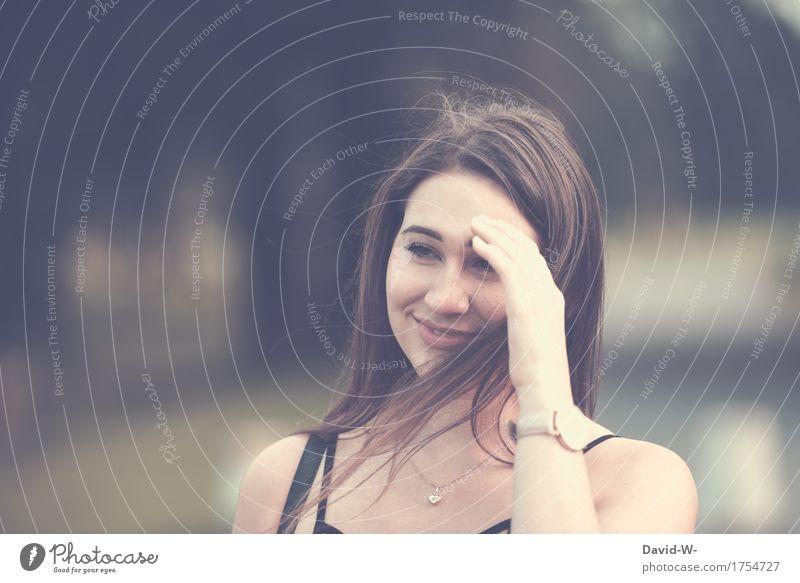 verschmitzt Leben harmonisch Wohlgefühl Zufriedenheit Ferien & Urlaub & Reisen Mensch feminin Junge Frau Jugendliche Erwachsene Kopf 1 18-30 Jahre Natur Lächeln