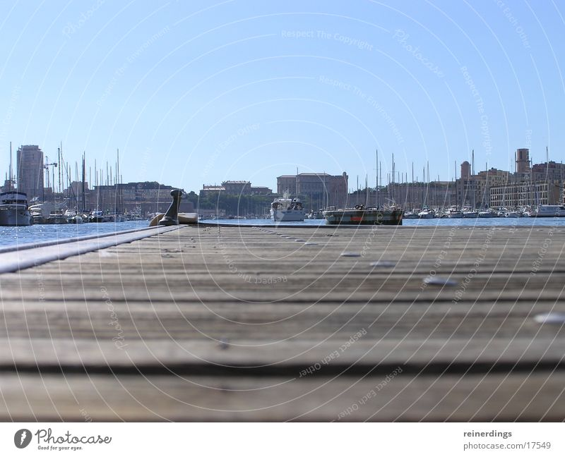 bootssteg Himmel Meer Sommer Holz Wasserfahrzeug Europa Hafen Skyline Frankreich Steg Provence Marseille